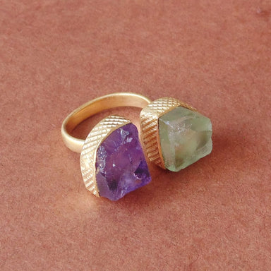Absolutely 18K Matte Gold Vermeil Amethyst And Green Fluorite Gemstone Valentine Gift Ring - by Bhagat Jewels