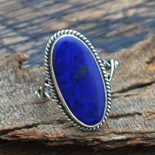 Rings Afghan Lapis Lazuli Gemstone sterling silver ring 22K Yellow Gold Rose Ring statement Unisex