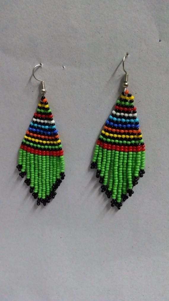 Earrings Green African beaded earrings Dangling Beaded tassel Moms gift Christmas for her jewelry women - Title by Naruki Crafts