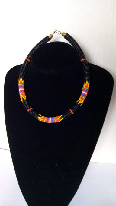 Necklaces African beaded necklace Black Necklace Moms gift Zulu boho - Title by Naruki Crafts
