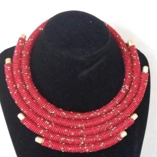 Necklaces Red Maasai Beaded Necklace - by Naruki Crafts