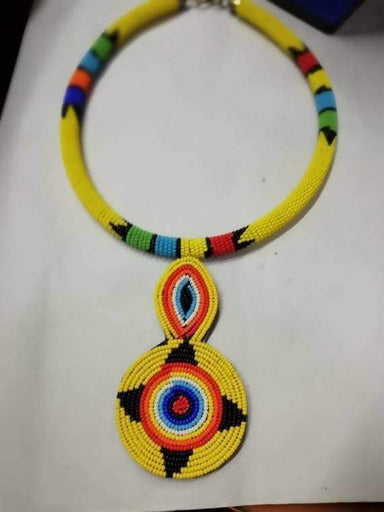 Necklaces African beaded necklace Masai Yellow pendant Zulu Moms gift Pendant Necklace Christmas for her - by Naruki Crafts
