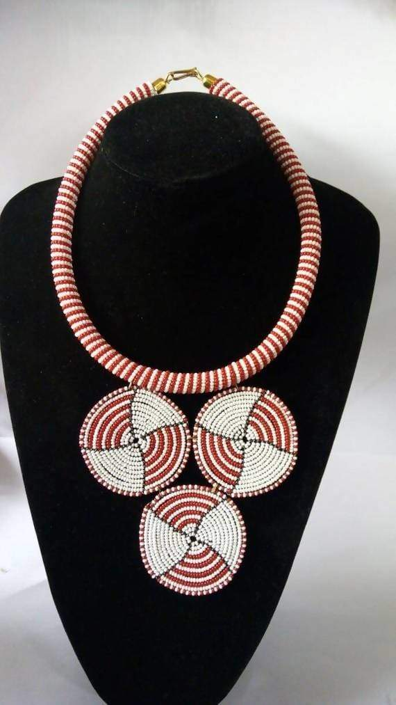 Necklaces African beaded pendant necklace Masai Beaded for women Red and White Necklace Moms gift Gift her - Title by Naruki Crafts