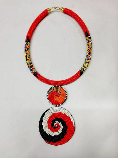 Necklaces African beaded Pendant necklace Tribal Zulu pendant Maasai jewelry - by Naruki Crafts