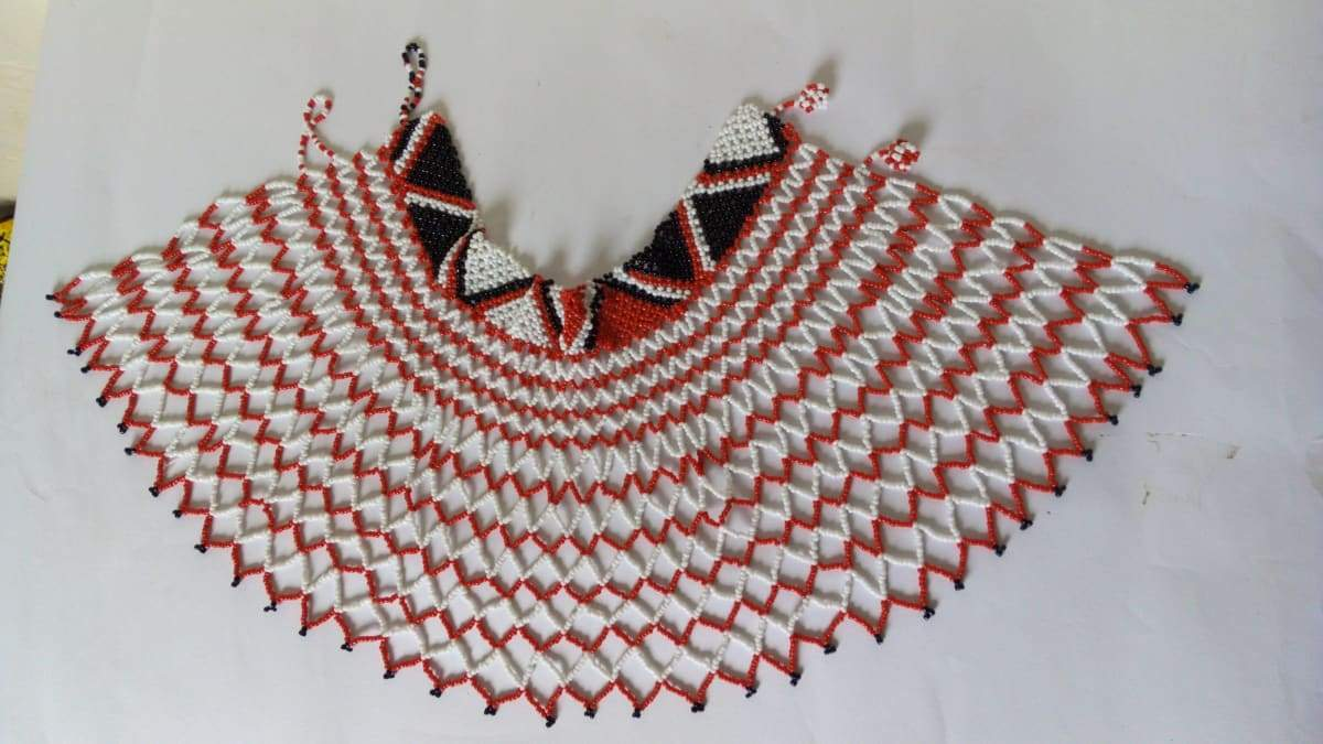 Necklaces African beaded wedding necklace Beaded shawl necklace,Bridesmaid gift - Title by Naruki Crafts