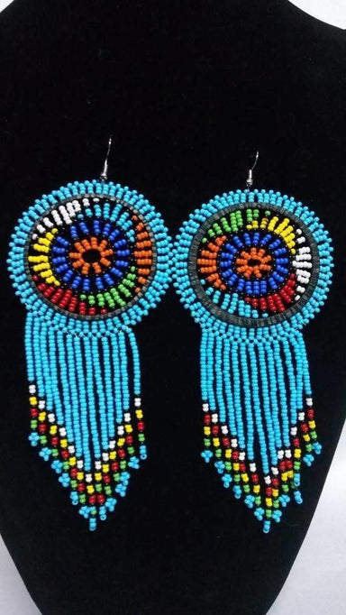 Earrings African beaded Zulu earrings Blue Beaded Fringe Long Tassel Christmas gift for her - Title by Naruki Crafts
