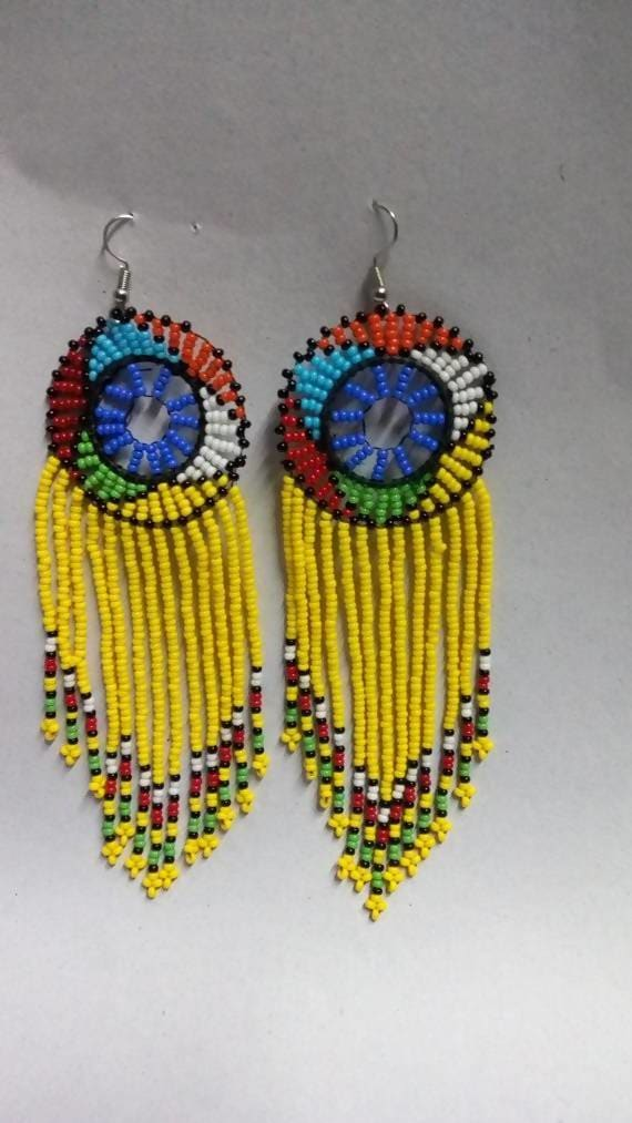 Earrings African earrings Beaded Boho Elegant Multicolored Gift for her Tribal Moms gift - Title by Naruki Crafts