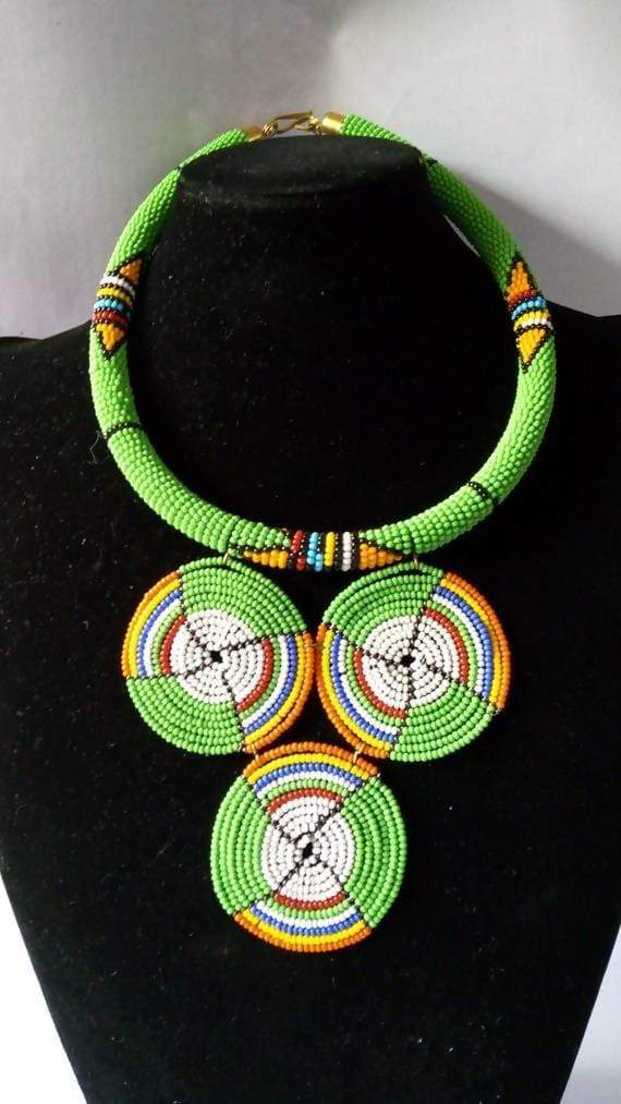 Necklaces African beaded necklace Maasai Beaded pendant jewelry for women Moms gift Christmas her - Title by Naruki Crafts