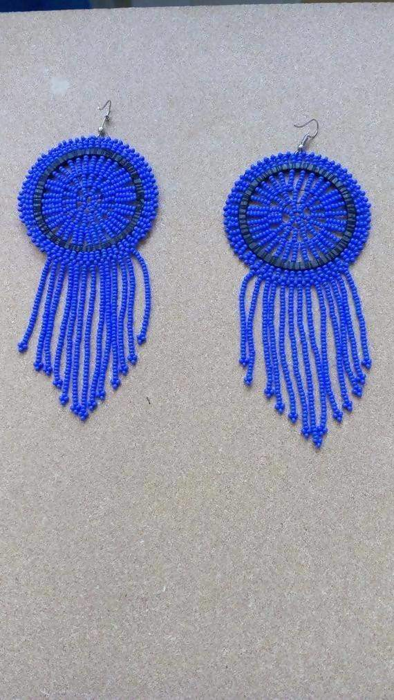 Earrings African Zulu beaded earrings Boho Blue Christmas Gift for her Beaded Fringe Tribal Moms gift - Title by Naruki Crafts