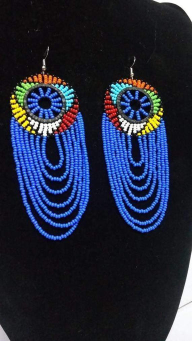Earrings African Zulu beaded earrings Boho Beaded Fringe Light blue Christmas gift for her Tribal - Title by Naruki Crafts