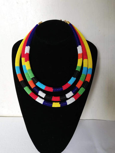 Necklaces African Zulu beaded necklace Maasai Beaded layered Necklace Moms gift Statement Christmas for her - Title by Naruki Crafts
