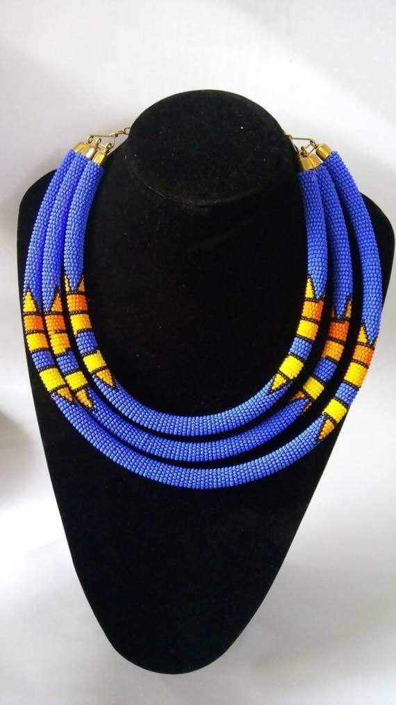 Necklaces African beaded necklace Masai Beaded Blue jewelry for women Moms gift Christmas her - Title by Naruki Crafts