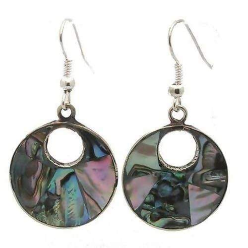 Earrings Alpaca Silver Open Abalone Drop (this product takes longer to arrive*)