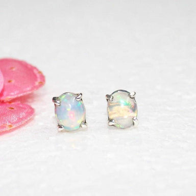 Earrings Amazing NATURAL ETHIOPIAN OPAL Gemstone Birthstone 925 Sterling Silver Healing Energy & Powers Stud Gift