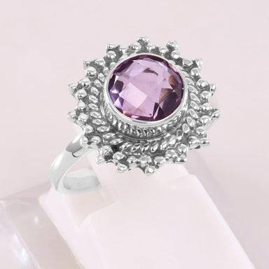 Amethyst 925 Sterling Silver Ring Handmade Bohemian Purple Gemstone February Birthstone Wedding Gift - by Rajtarang