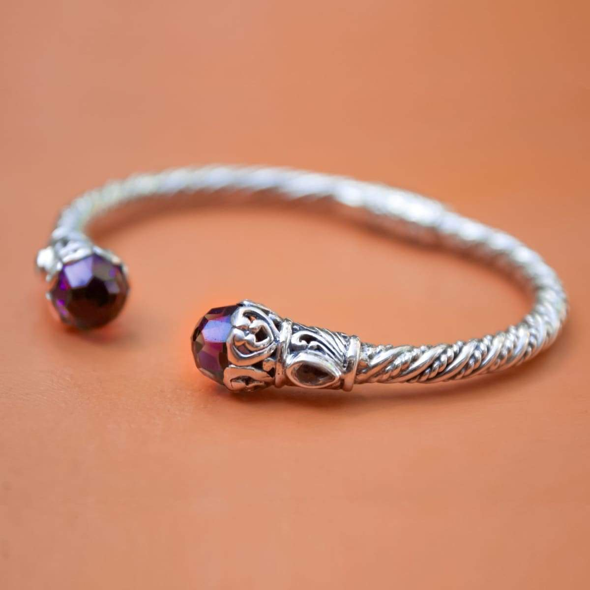 Bracelets Amethyst and Citrine Silver Cable Bracelet Handmade Bali Jewelry Gift for women - by Craftnez