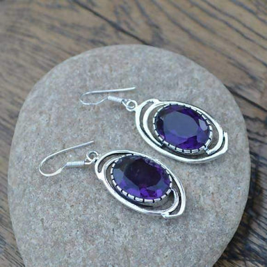 Earrings Amethyst Gemstone - 925 Silver Dangle Jewelry - Women's Gift Jewelry- - Designer Earrings- MK04