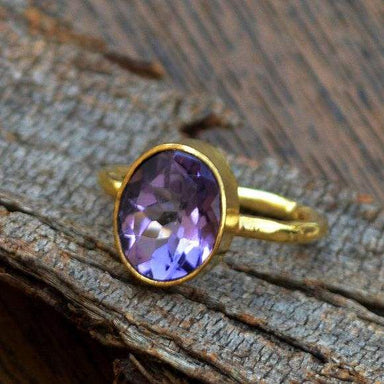 Rings Amethyst gemstone gold ring 14k yellow
