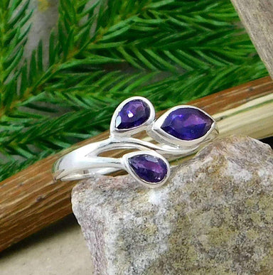 Rings Amethyst Gemstone Ring Three Stone Mothers Day Gift