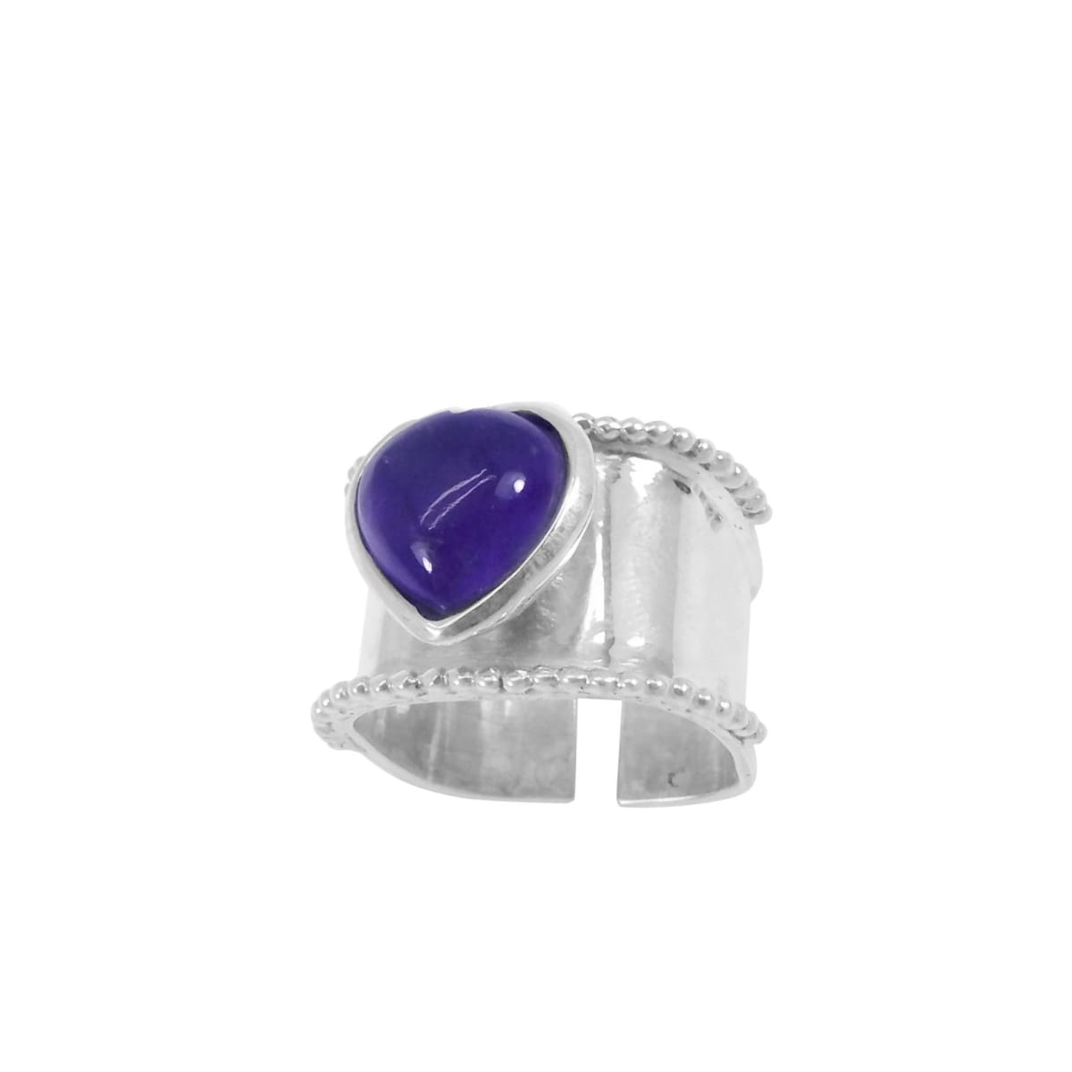 Rings Amethyst Heart Shaped 925 Sterling Silver Wide Band Adjustable Ring