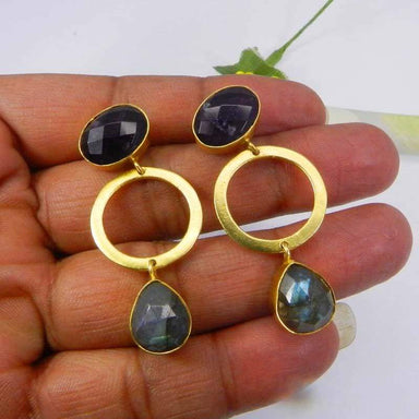 Earrings Amethyst and Labradorite Gold Plated Designer Bezel Set Stud Jewelry