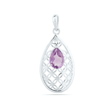 Amethyst Pendant Purple Pear Gemstone Designer UNIQUE