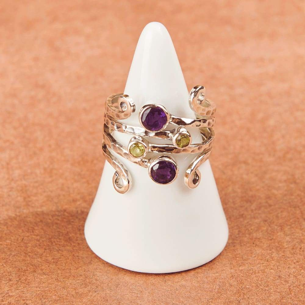 Rings Amethyst Peridot Multi Gemstone Sterling Silver Ring - by jaipur art jewels