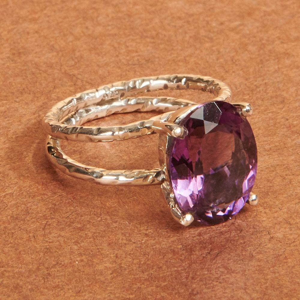Rings Amethyst Purple gemstone 925 Sterling silver Ring Fashion Handmade Jewelry Gift - by Adorable Craft