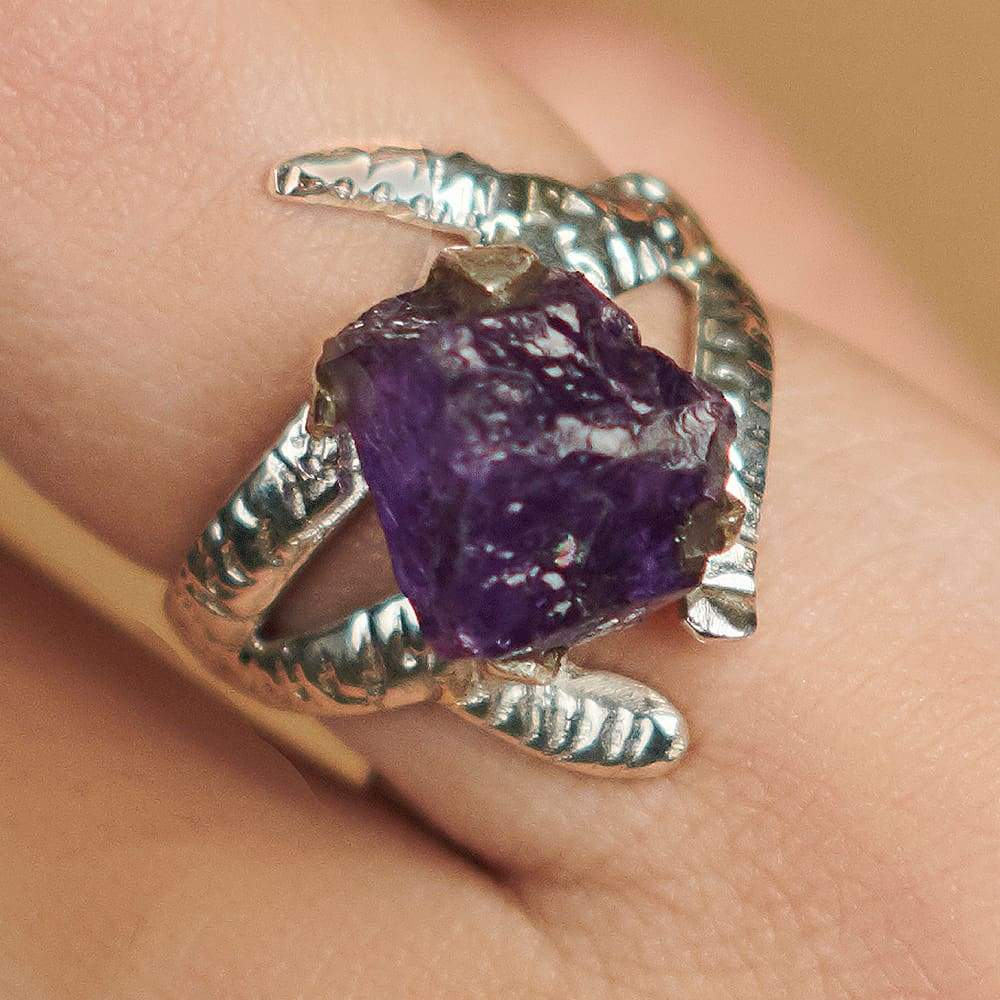 Rings Amethyst Ring-Boho Silver Ring-One of Kind Rough Ring -925 Sterling -Natural Semi Precious Raw Stone -Christmas Gift - by