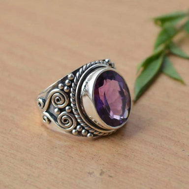 Rings Amethyst Ring Purple Gemstone Natural All Sizes 925 Sterling Silver February Birthstone