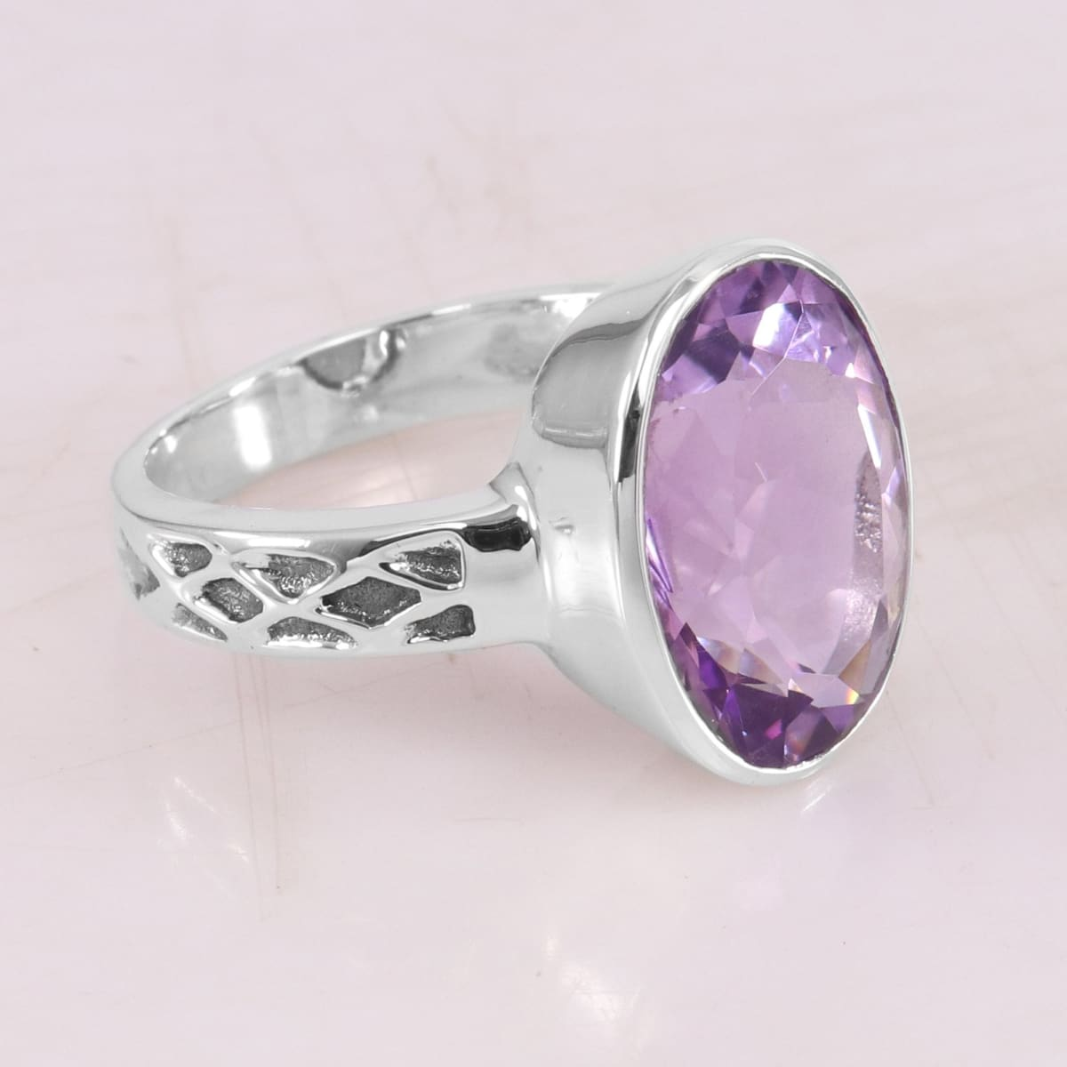 Ring Amethyst Silver Handmade 925 Sterling Gemstone 12X16mm For Women's - 7 by Rajtarang