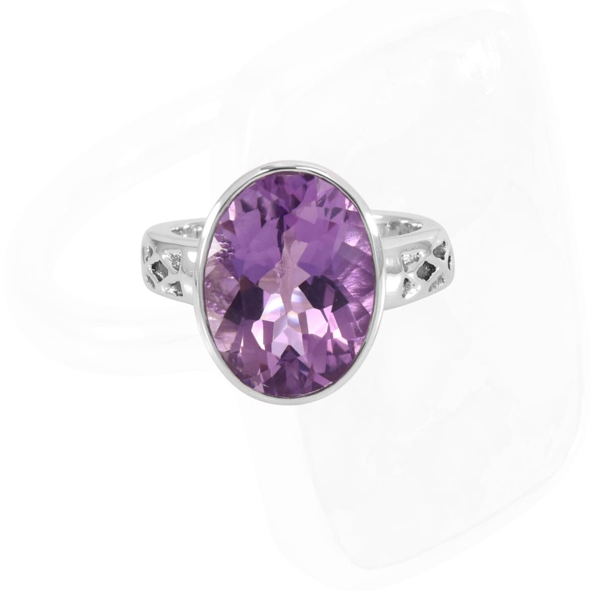 Ring Amethyst Silver Handmade 925 Sterling Gemstone 12X16mm For Women's - by Rajtarang