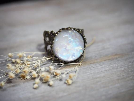 rings Antique Bronze White Opal October Birthstone Aurora Borealis Ring - by StylishNature