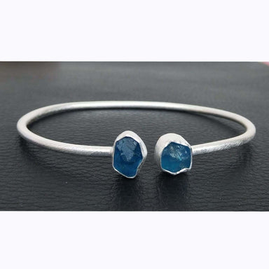 Bracelets Apatite Crystal Bangle 925 Sterling Silver Neon Blue