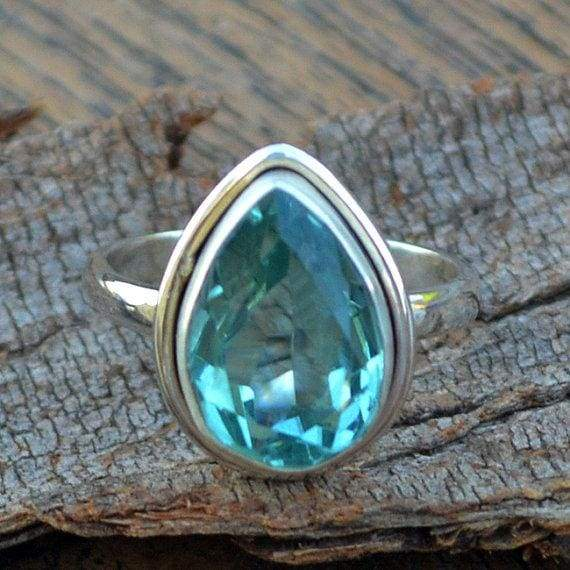 Rings Apatite Quartz Ring Pear Cut 925 Sterling Silver Jewelry