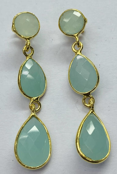 Earrings Aqua Calci Round & Pear Shape Stud Earring Sterling Silver Gold Plated - by TJ GEMS
