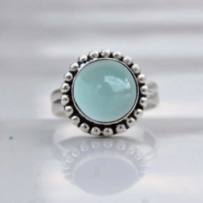 Rings Aqua Chalcedony 925 Sterling Silver Ring 22K Yellow Gold Filled Rose Jewelry