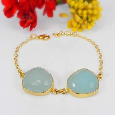 Bracelets Aqua Chalcedony Bezel Set Gold Plated Fancy Chain Bracelet