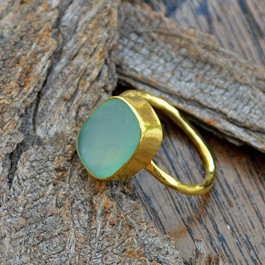 Rings Aqua Chalcedony Gold Ring 14K Yellow Faceted Jewelry