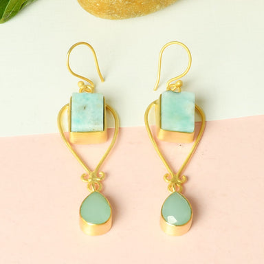 Aqua Chalcedony And Larimar Dual Birthstone Dangle Earrings - by Bhagat Jewels