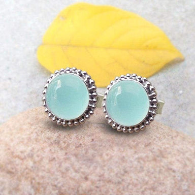 Earrings Aqua Chalcedony Stud Earring blue Ball Sterling silver mint round studs Gift Jewelry
