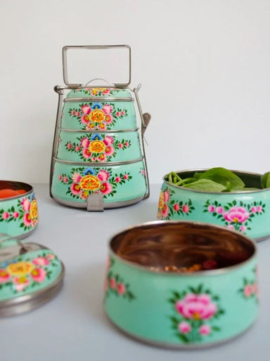 kitchen & dining Aqua Green Hand-painted 3 Tier Steel Lunch Box - A dabba or Indian-style tiffin carrier Bombay Dabba - by Mrinalika Jain