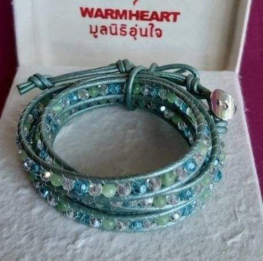 Aqua Mix Crystal and Cats Eye Wrap Bracelet