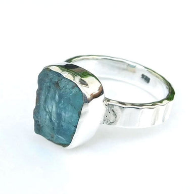 Rings Aquamarine 925 Sterling Silver Ring Raw Birthstone Ring-D006