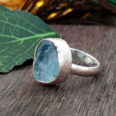Ring Aquamarine Birthstone AAA+Quality Boho Silver Rough Stone,925-Sterling Aqua blue rough Bestselling - by GIRIVAR CREATIONS
