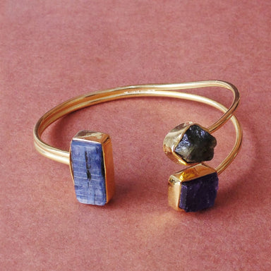 Artisan Crafted 18K Gold Plated Blue Kyanite Amethyst And Peridot Gemstone Cuff Bracelet - by Bhagat Jewels