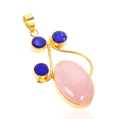 Artisan Handcrafted Bezel Set Rose Quartz And Lapis Lazuli Birthstone Pendant