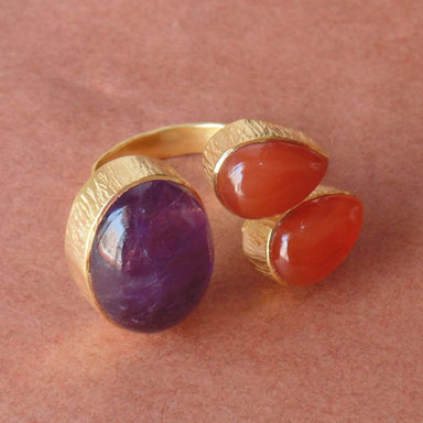 Artisan Handcrafted Natural Amethyst And Carnelian Gemstone Wife Birthday Gift Ring