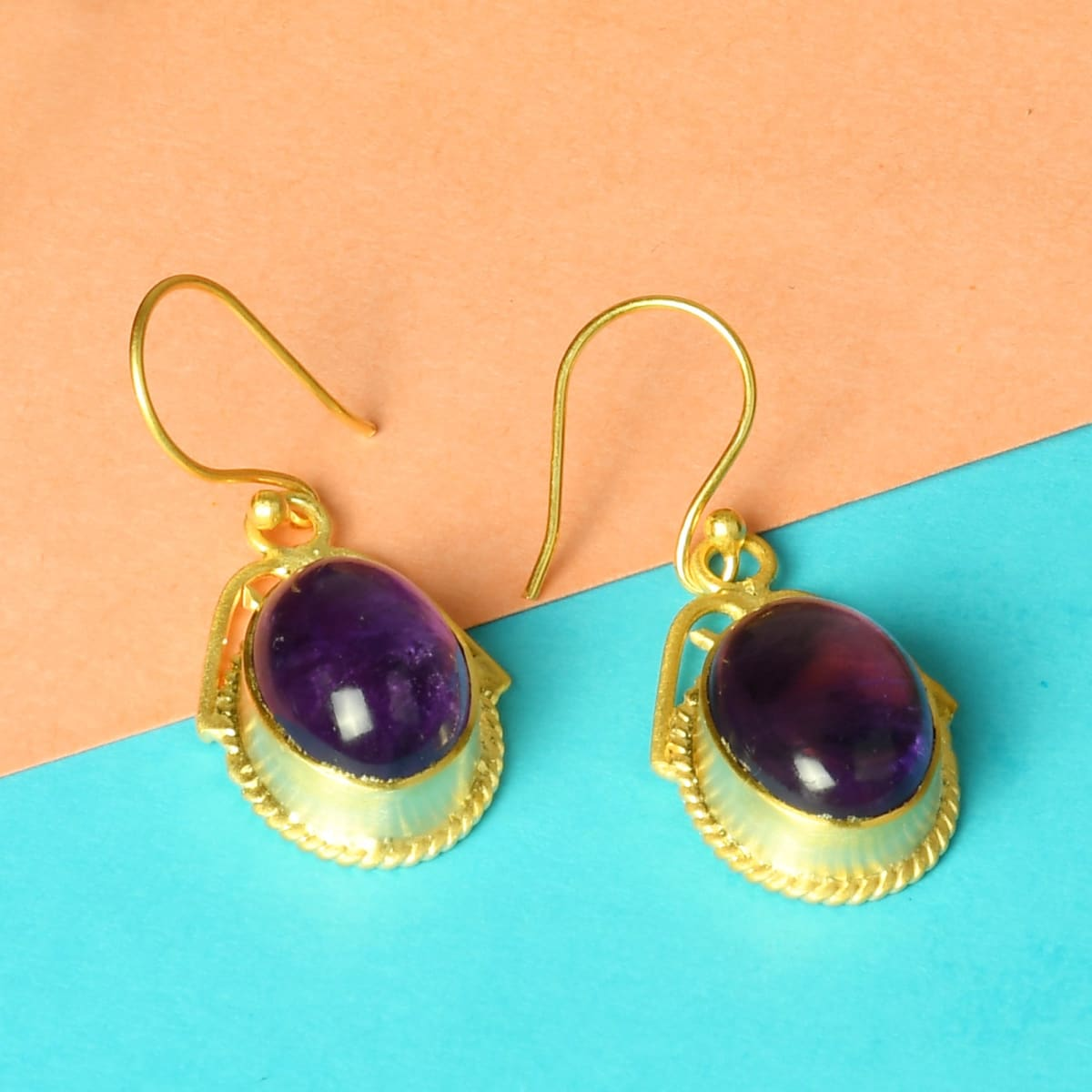 Artisan Handcrafted Purple Amethyst Gemstone Drop Earrings For Women - by Bhagat Jewels