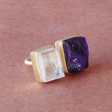 Artisan Handmade 18 Karat Gold Plated Crystal And Amethyst Birthstone Adjustable Ring For Women - by Bhagat Jewels